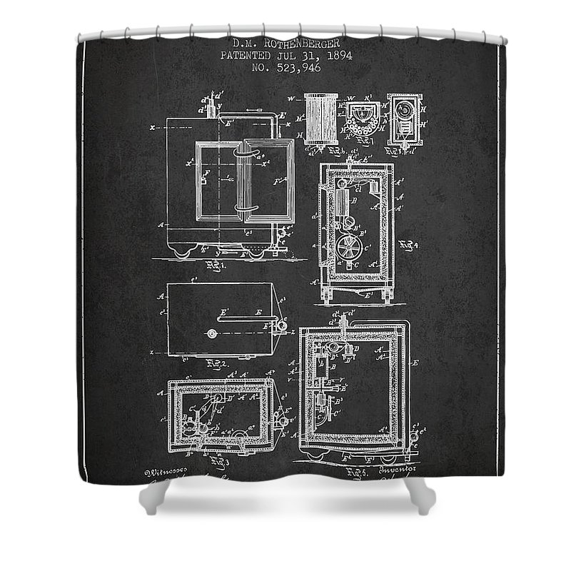 Bank Safe Shower Curtain Featuring The Digital Art 1894 Patent
