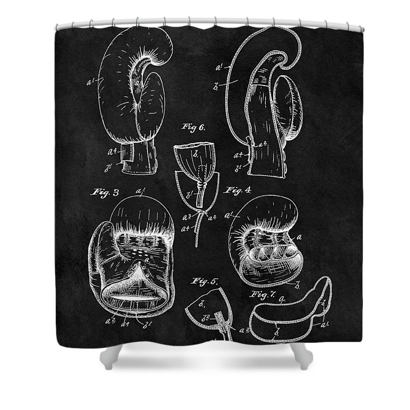 Boxing Gloves Patent Shower Curtain featuring the drawing 1896 Boxing Glove Patent Illustration 1896 by Dan Sproul