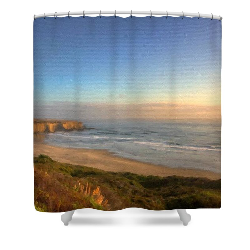 Oil Shower Curtain featuring the digital art D L Landscape by Usa Map