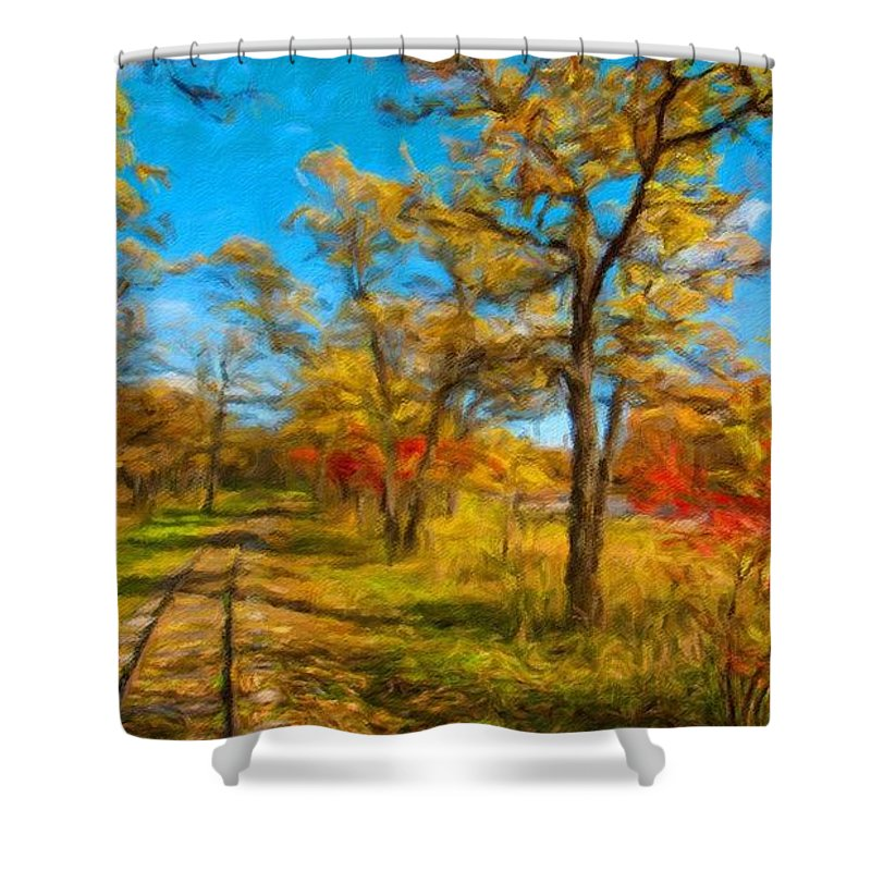 J Shower Curtain featuring the digital art J P Landscape by Usa Map