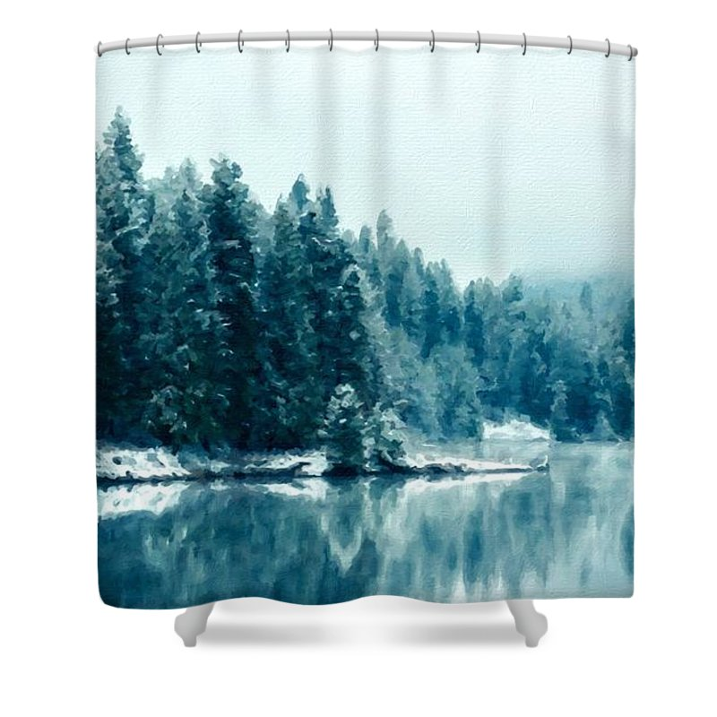 Nc Shower Curtain featuring the digital art Landscape Modern by Usa Map
