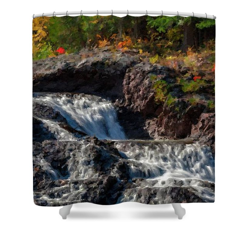 Landscape Shower Curtain featuring the digital art Paint Landscapes by Usa Map