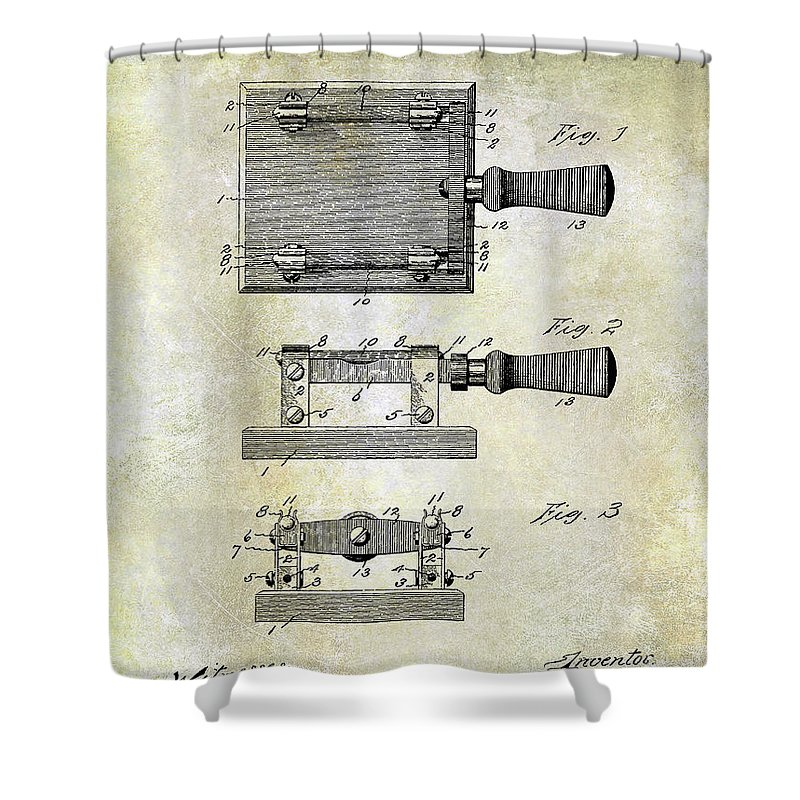 1900 Knife Switch Patent Shower Curtain featuring the photograph 1900 Knife Switch Patent by Jon Neidert