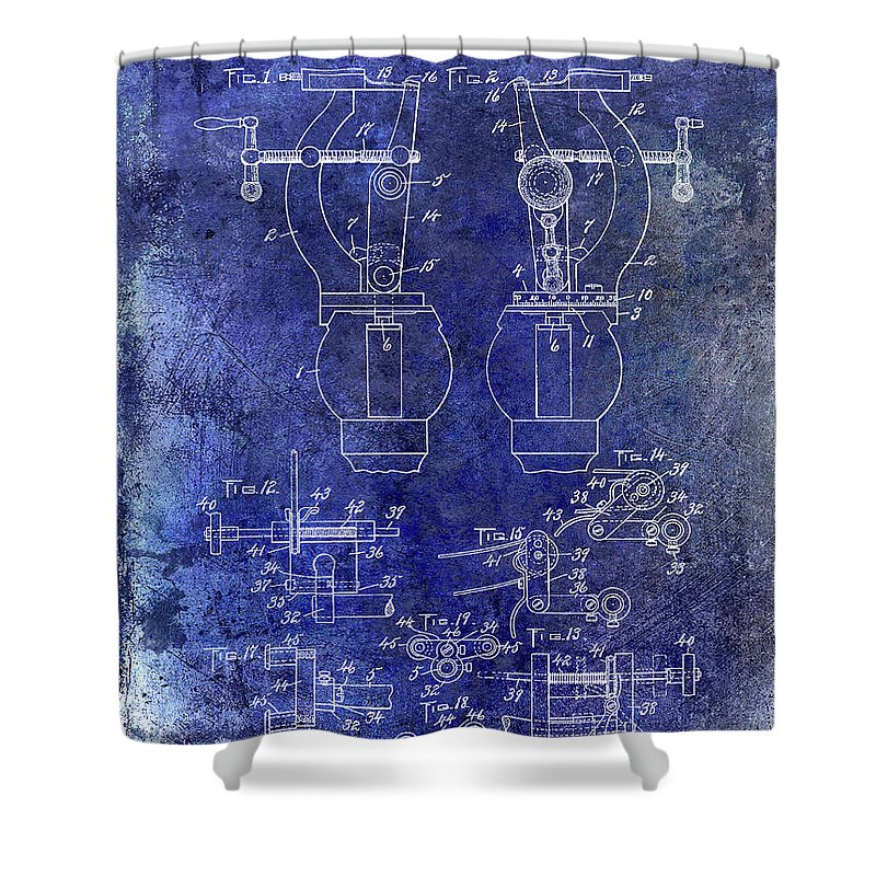 Watch Shower Curtain featuring the photograph 1902 Watchmakers Lathes Patent Blue by Jon Neidert