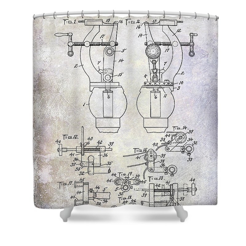 Watch Shower Curtain featuring the photograph 1902 Watchmakers Lathes Patent by Jon Neidert