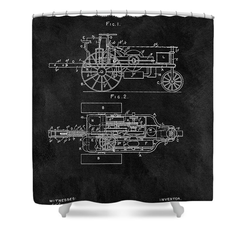 1903 Tractor Patent Shower Curtain featuring the drawing 1903 Tractor Blueprint Patent by Dan Sproul