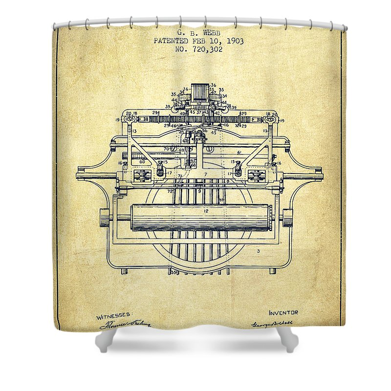 Typewriter Shower Curtain featuring the digital art 1903 Type Writing Machine Patent - Vintage by Aged Pixel