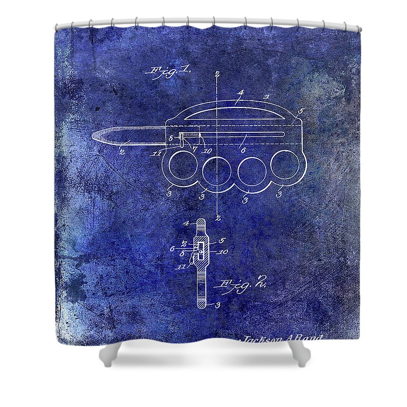Oyster Shucking Knife Shower Curtain featuring the photograph 1906 Oyster Shucking Knife Patent Blue by Jon Neidert