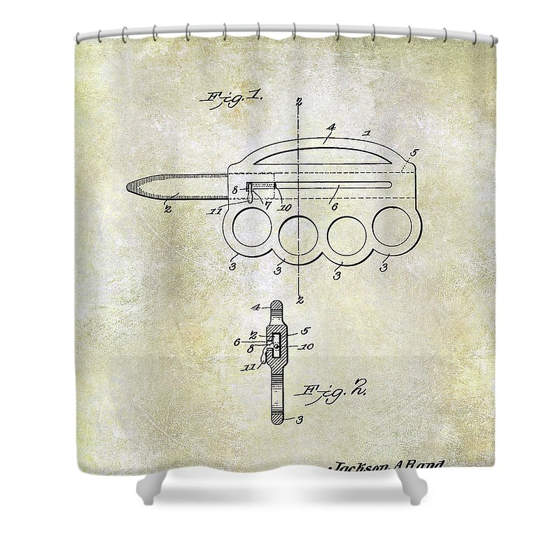 Oyster Shucking Knife Shower Curtain featuring the photograph 1906 Oyster Shucking Knife Patent by Jon Neidert
