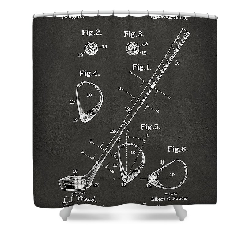 Golf Shower Curtain featuring the digital art 1910 Golf Club Patent Artwork - Gray by Nikki Marie Smith