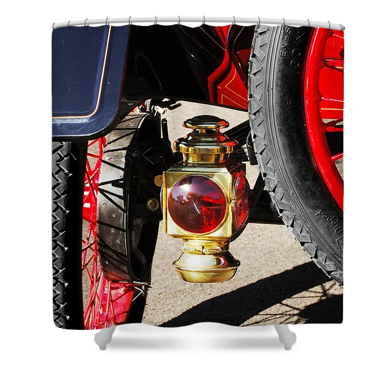 Horseless Carriage Shower Curtain featuring the photograph 1911 Ford Model T Torpedo Lamp by Jill Reger