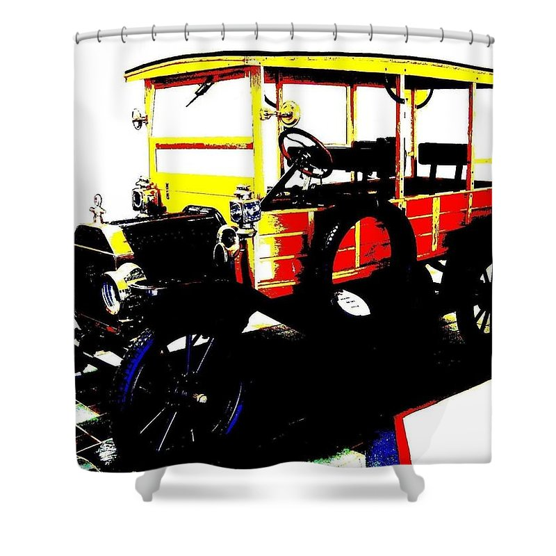1912 Shower Curtain featuring the digital art 1912 Ford Model T Taxi by Will Borden