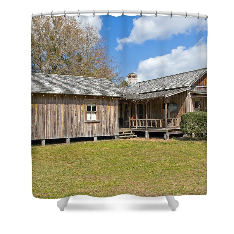 Cabin Shower Curtain featuring the photograph 1912 Simmons Farm In Christmas Florida by Allan Hughes
