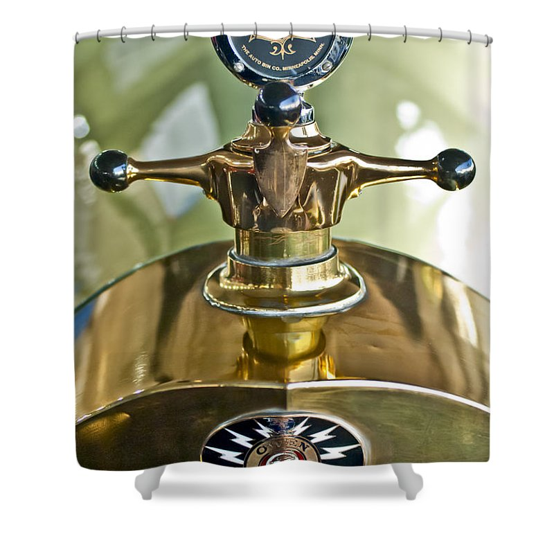 1917 Owen Magnetic M-25 Touring Shower Curtain featuring the photograph 1917 Owen Magnetic M-25 Hood Ornament 2 by Jill Reger