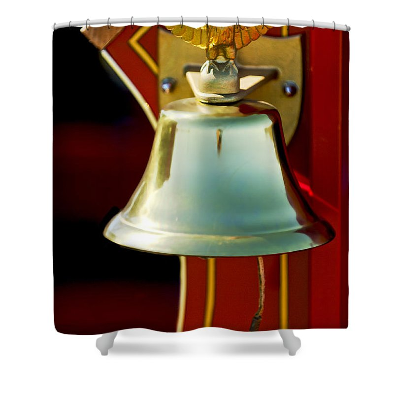 1919 Ford Model T Shower Curtain featuring the photograph 1919 Fire Truck Bell by Jill Reger