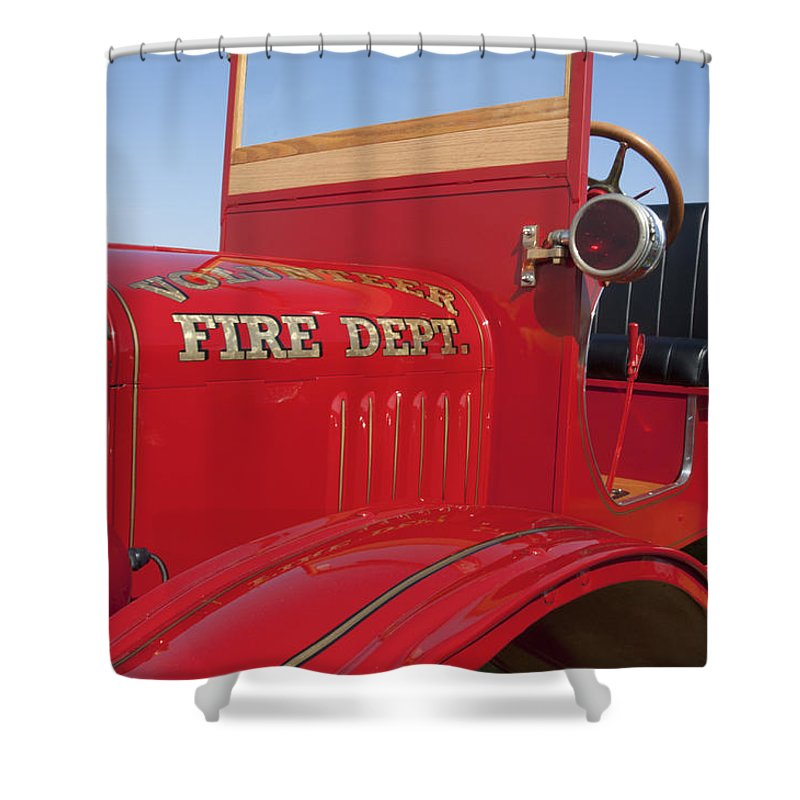 1919 Ford Model T Shower Curtain featuring the photograph 1919 Volunteer Fire Truck by Jill Reger