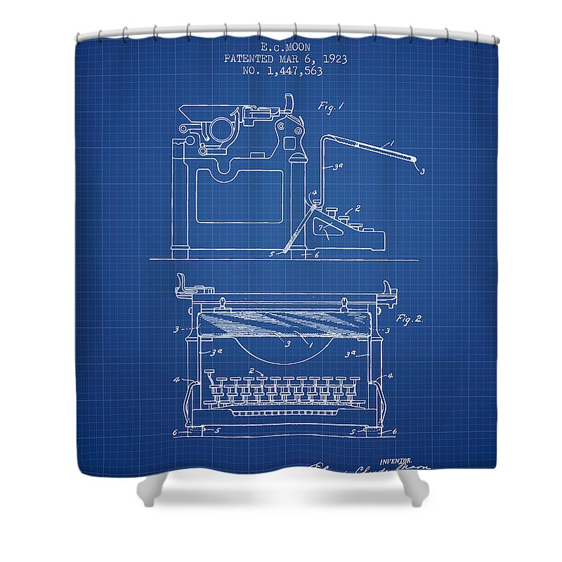 1923 typewriter screen patent blueprint shower curtain for sale by typewriter shower curtain featuring the digital art 1923 typewriter screen patent blueprint by aged pixel malvernweather