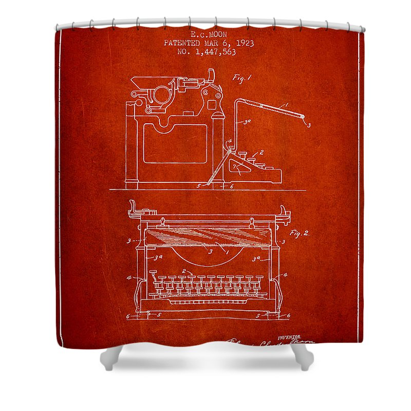 Typewriter Shower Curtain featuring the digital art 1923 Typewriter Screen Patent - Red by Aged Pixel