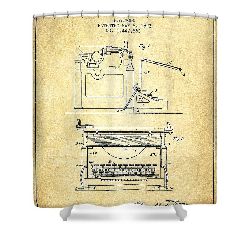 Typewriter Shower Curtain featuring the digital art 1923 Typewriter Screen Patent - Vintage by Aged Pixel