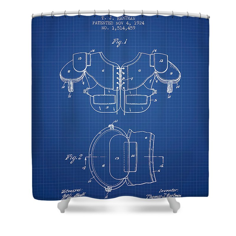 Football Shower Curtain Featuring The Digital Art 1924 Shoulder Pad Patent