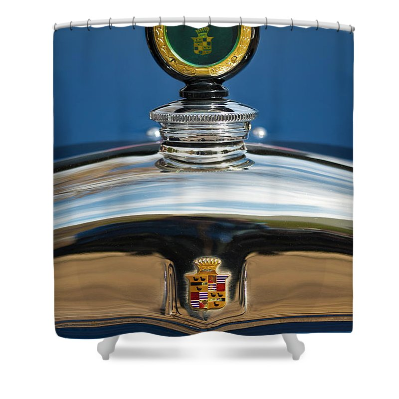 Car Shower Curtain featuring the photograph 1926 Cadillac Series 314 Custom Hood Ornament by Jill Reger