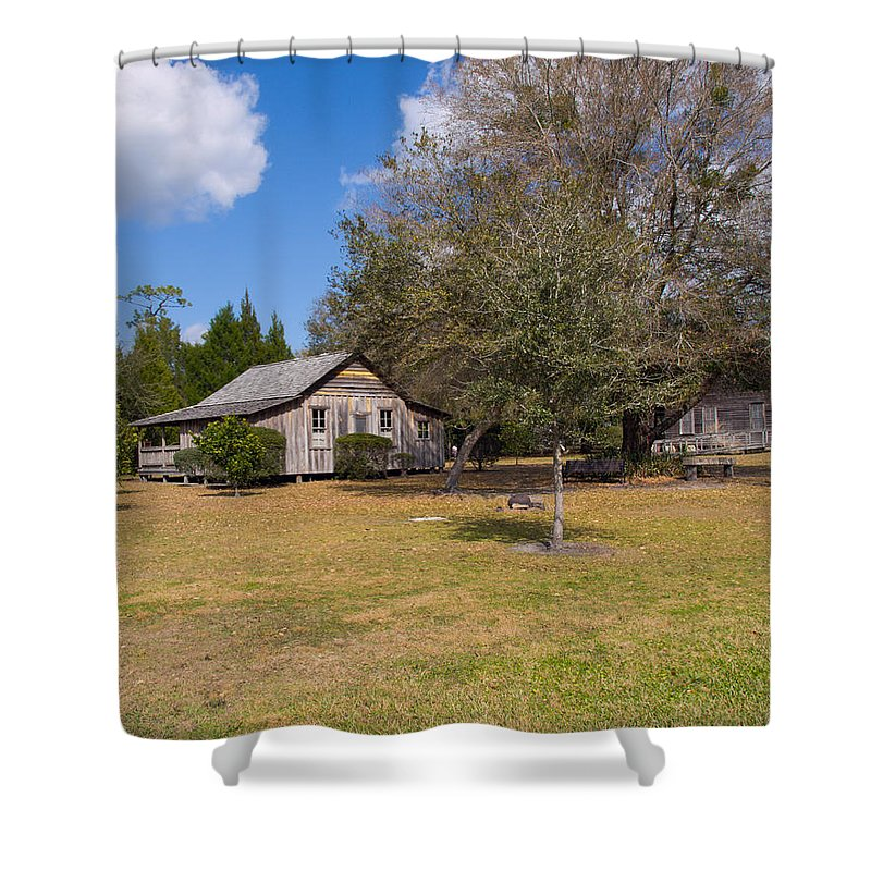 Cabin Shower Curtain featuring the photograph 1927 Woods Home In Christmas Florida by Allan Hughes
