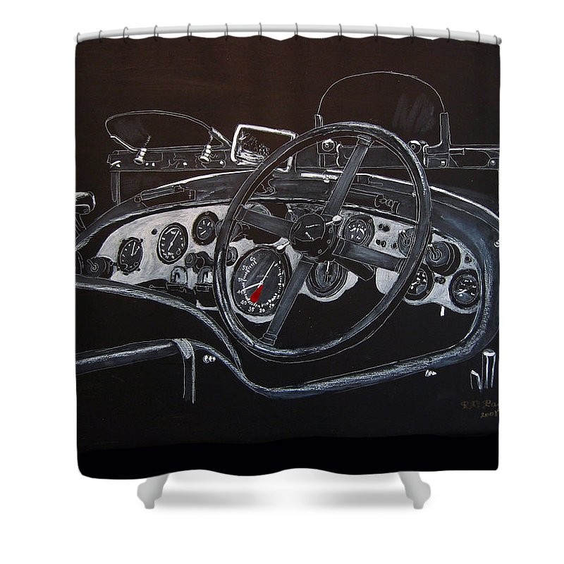 Bentley Shower Curtain featuring the painting 1928 Bentley Dash by Richard Le Page
