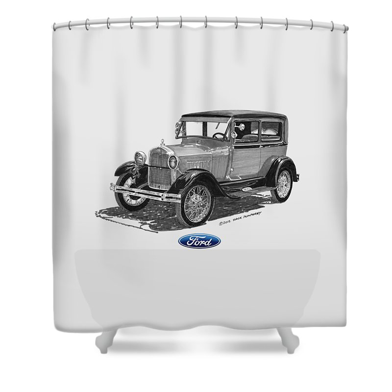 Ford Shower Curtain Featuring The Painting Model A 2 Door Sedan By Jack Pumphrey