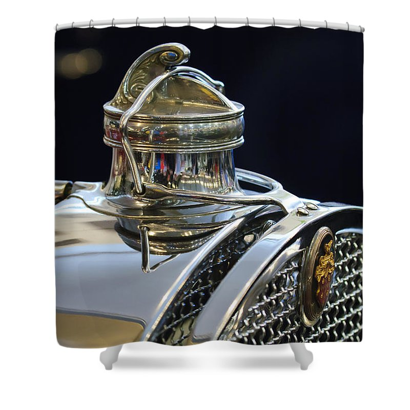 1929 Packard 8 Convertible Coupe Shower Curtain featuring the photograph 1929 Packard 8 Hood Ornament 3 by Jill Reger