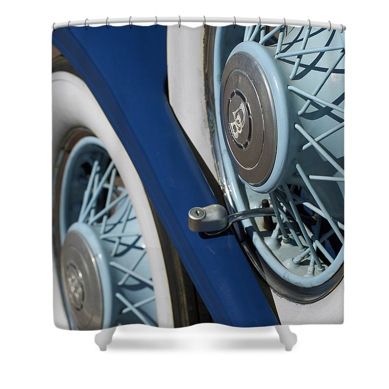Car Shower Curtain featuring the photograph 1930 Db Dodge Spare Tire by Jill Reger