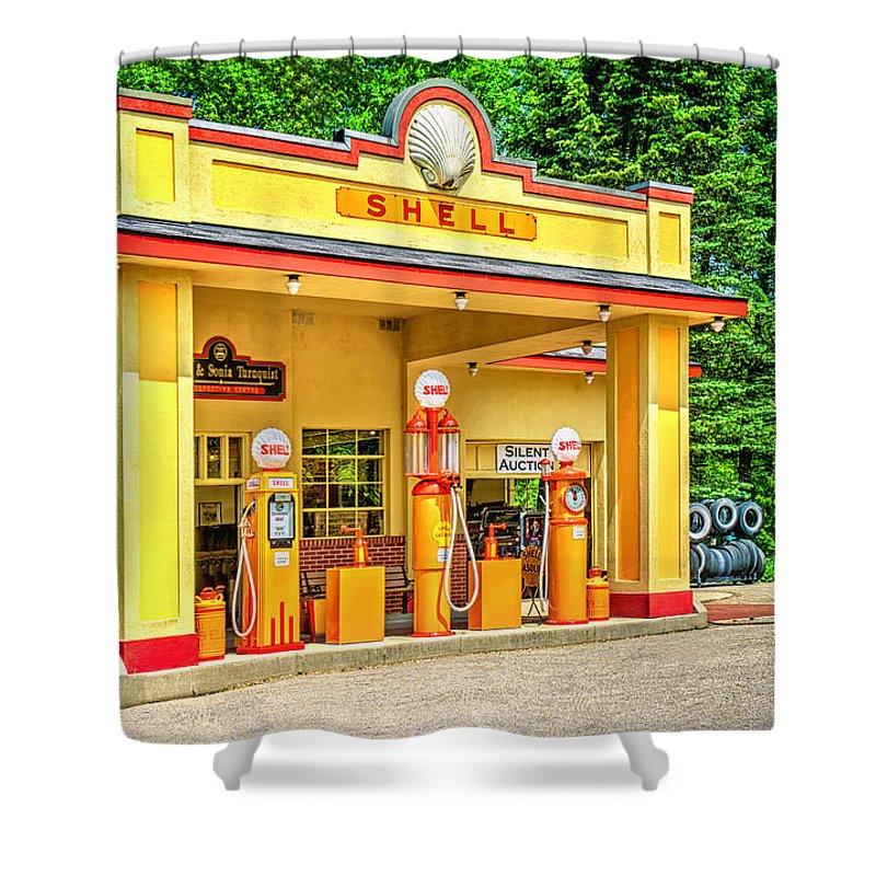 Antique Shower Curtain featuring the photograph 1930s Shell Gas Station by LeeAnn McLaneGoetz McLaneGoetzStudioLLCcom