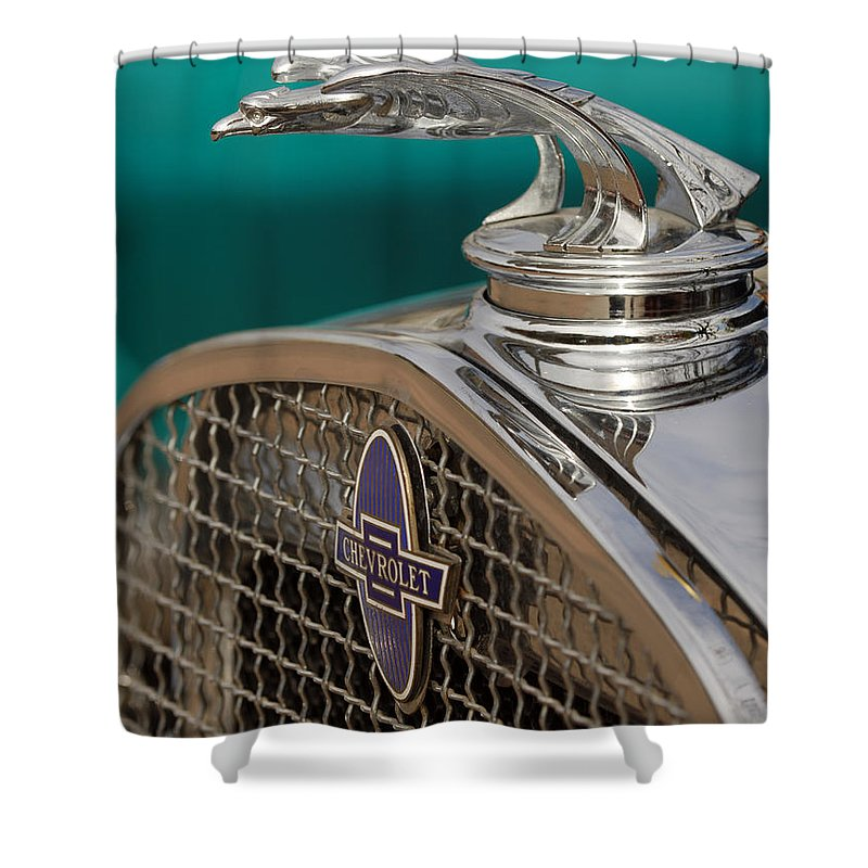 Car Shower Curtain featuring the photograph 1931 Chevrolet Hood Ornament by Jill Reger