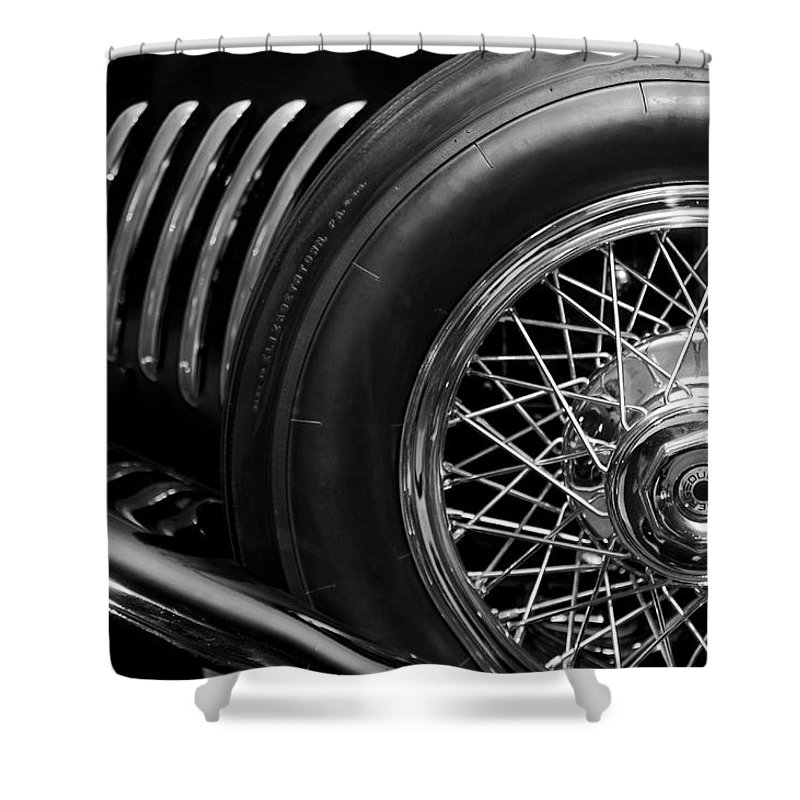 1931 Duesenberg Model J Shower Curtain featuring the photograph 1931 Duesenberg Model J Spare Tire 2 by Jill Reger