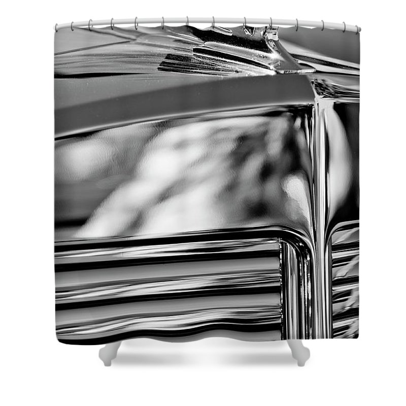 1931 Marmon Sixteen Coupe Shower Curtain featuring the photograph 1931 Marmon Sixteen Coupe Hood Ornament 4 by Jill Reger