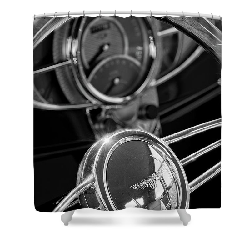 1932 Ford Shower Curtain featuring the photograph 1932 Ford Hot Rod Steering Wheel 4 by Jill Reger