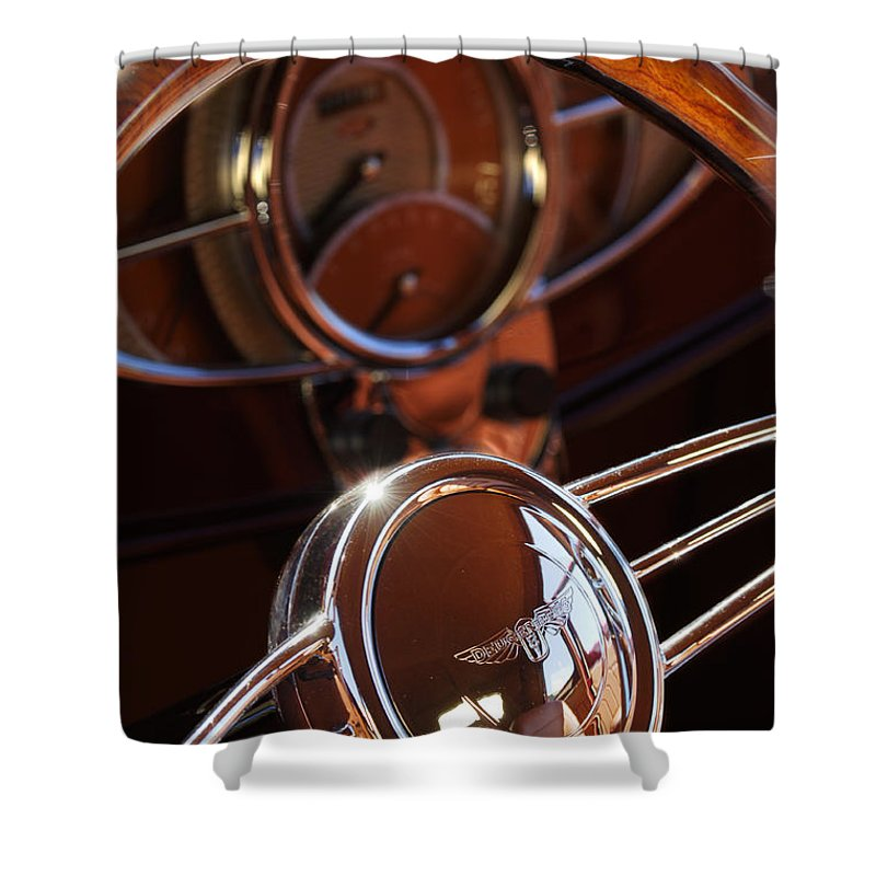 Car Shower Curtain featuring the photograph 1932 Ford Hot Rod Steering Wheel by Jill Reger