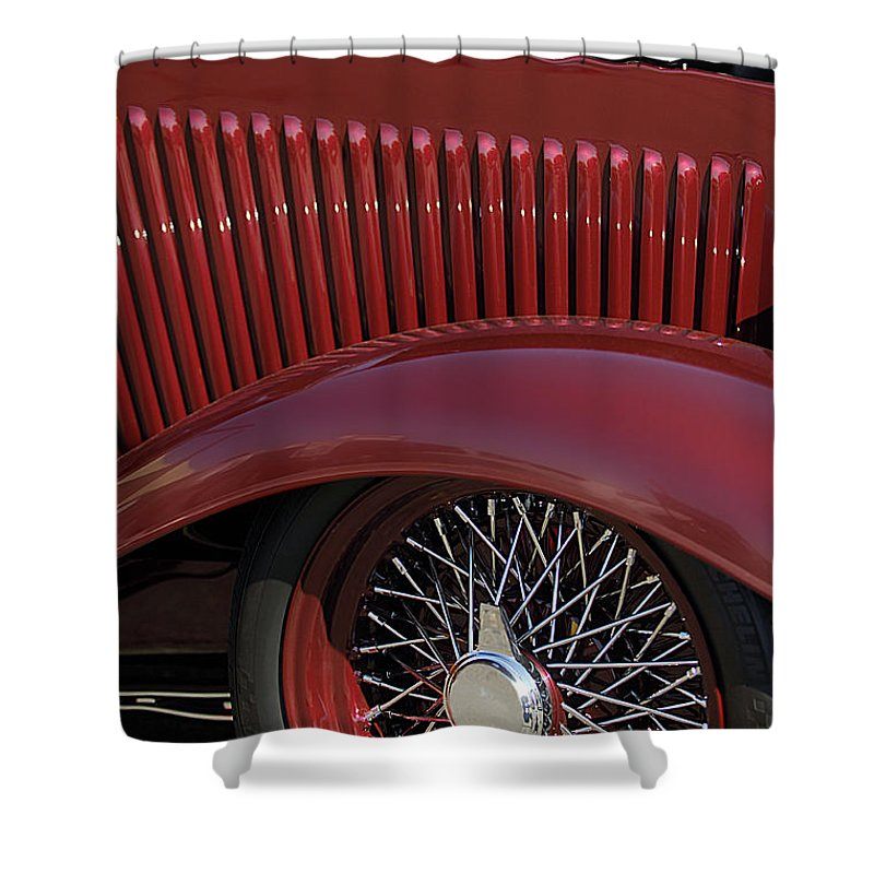 1932 Ford Shower Curtain featuring the photograph 1932 Ford Hot Rod Wheel by Jill Reger