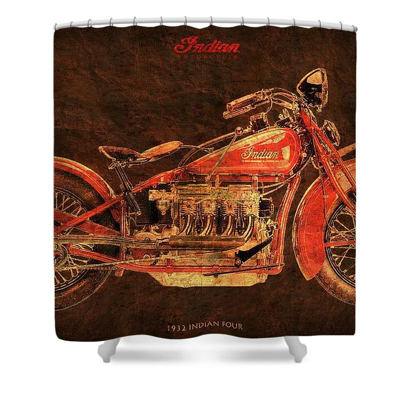 Captivating 1932 Indian Four Classic Motorcycle Shower Curtain Featuring The Digital  Art 1932 Indian Four Classic Motorcycle