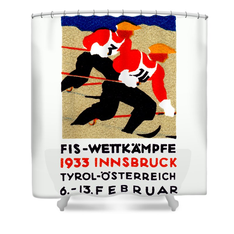 Historicimage Shower Curtain featuring the painting 1933 Austrian Ski Race Poster by Historic Image