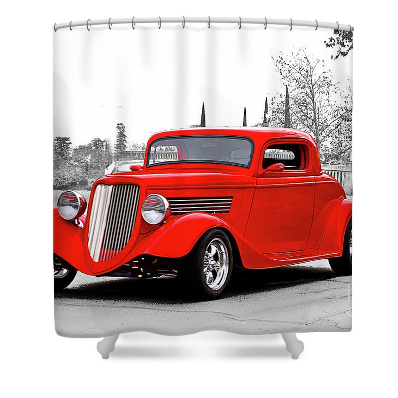 Auto Shower Curtain featuring the photograph 1933 Ford 'three Window' Coupe I by Dave Koontz