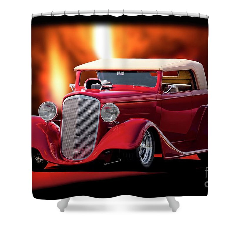 Hot Rod Key Words Shower Curtain featuring the photograph 1934 Chevrolet Phaeton Convertible by Dave Koontz
