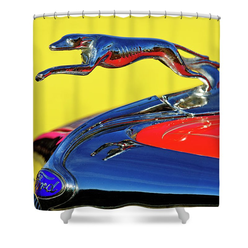 1934 Ford Shower Curtain featuring the photograph 1934 Ford Hood Ornament by Jill Reger