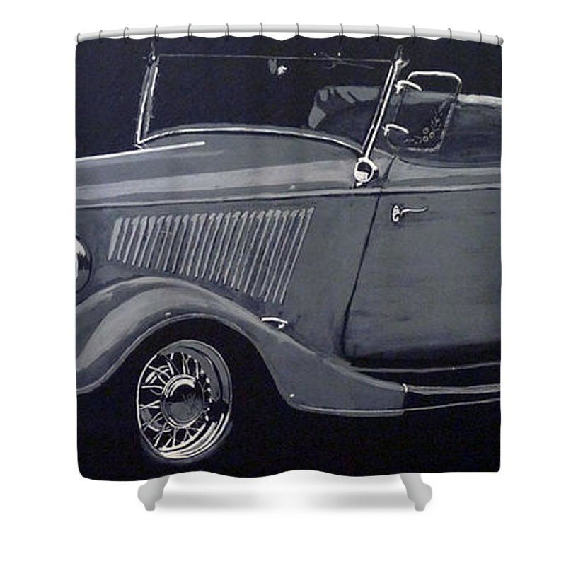 Ford Shower Curtain featuring the painting 1934 Ford Roadster by Richard Le Page