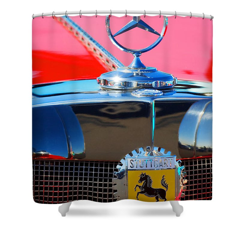 Transportation Shower Curtain featuring the photograph 1934 Mercedes Benz 500 K Roadster by Jill Reger