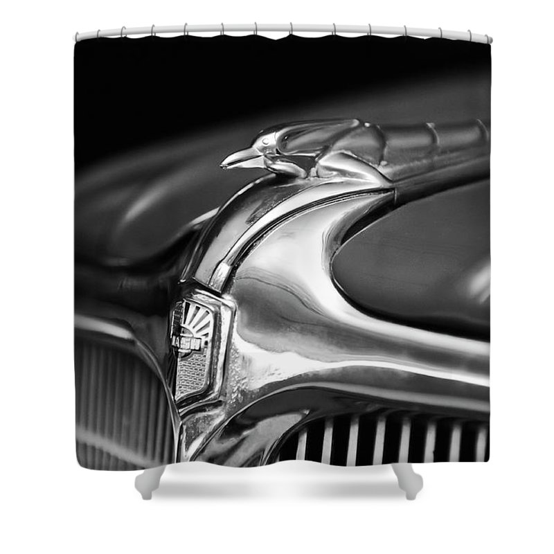 1934 Nash Ambassador 8 Shower Curtain featuring the photograph 1934 Nash Ambassador 8 Hood Ornament 2 by Jill Reger