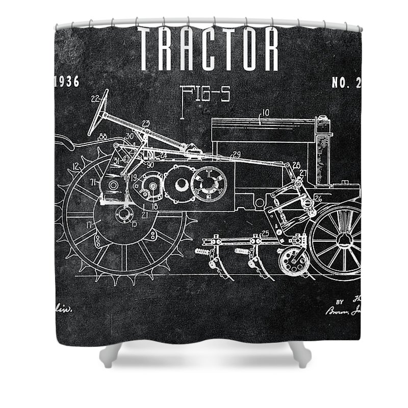 1936 Tractor Patent Shower Curtain featuring the drawing 1936 Chalkboard Tractor Patent by Dan Sproul