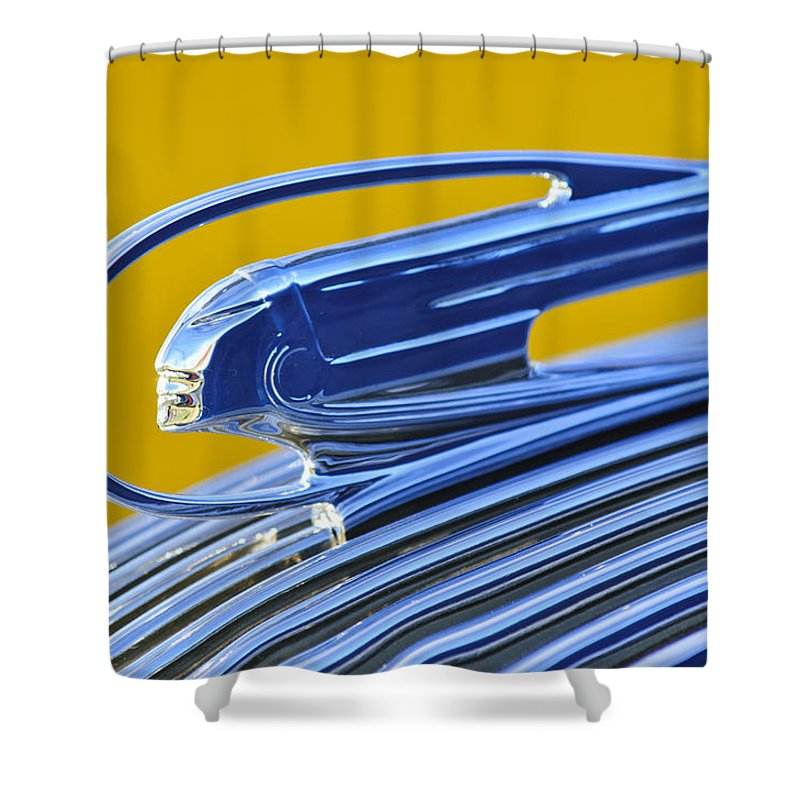 1936 Pontiac Shower Curtain featuring the photograph 1936 Pontiac Hood Ornament 4 by Jill Reger