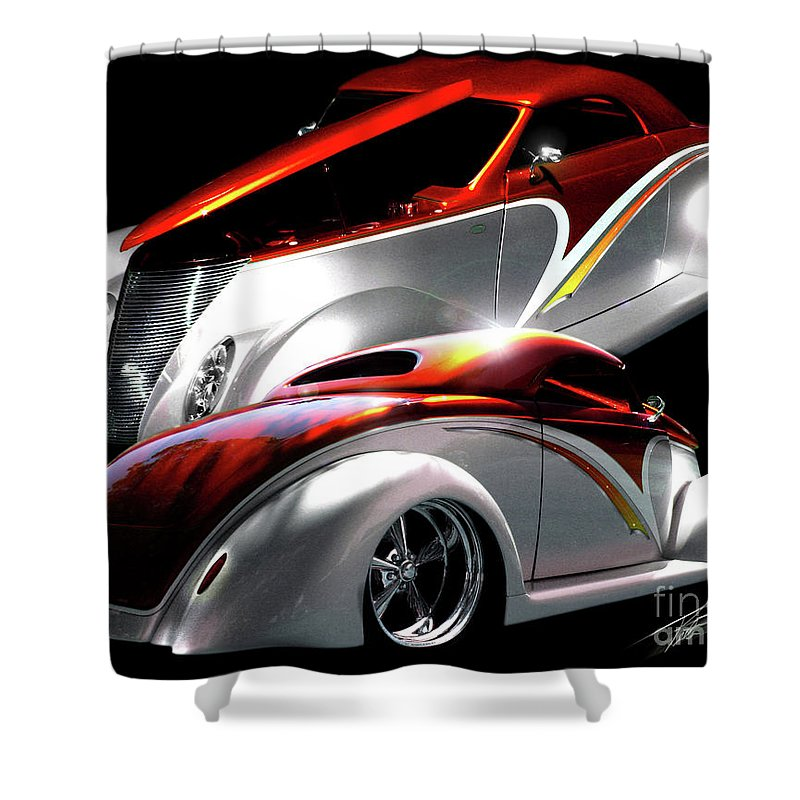 1937 Ford Coupe Shower Curtain featuring the photograph 1936 Striped Coupe by Peter Piatt