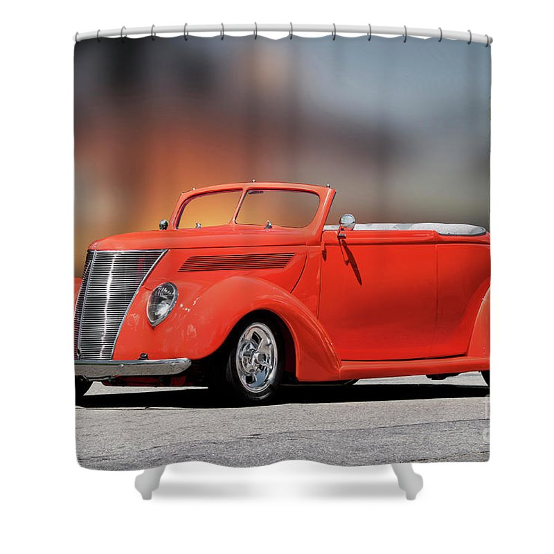 Auto Shower Curtain featuring the photograph 1937 Ford Cabriolet 'old School Vibe II by Dave Koontz