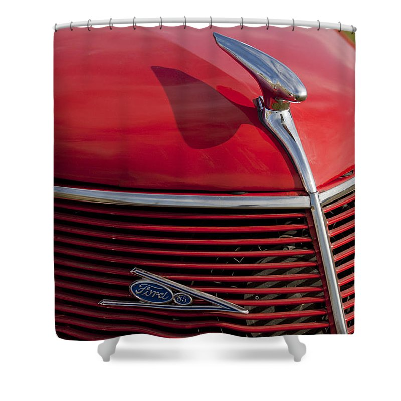 1937 Ford Shower Curtain featuring the photograph 1937 Ford Hood Ornament by Jill Reger